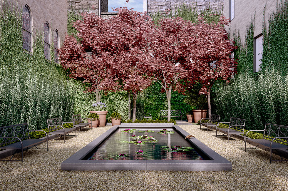 Private French-style courtyard garden